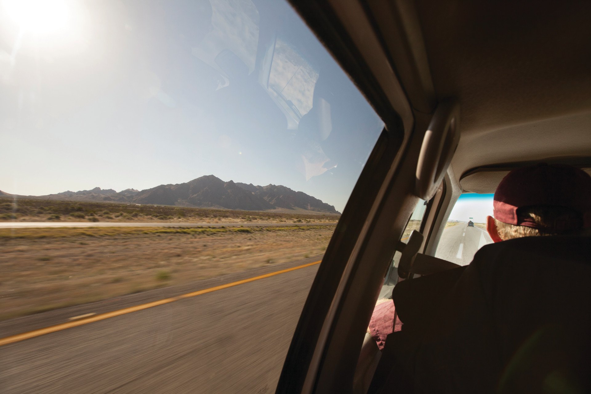<small>Driving across the Mexican desert.</small>
