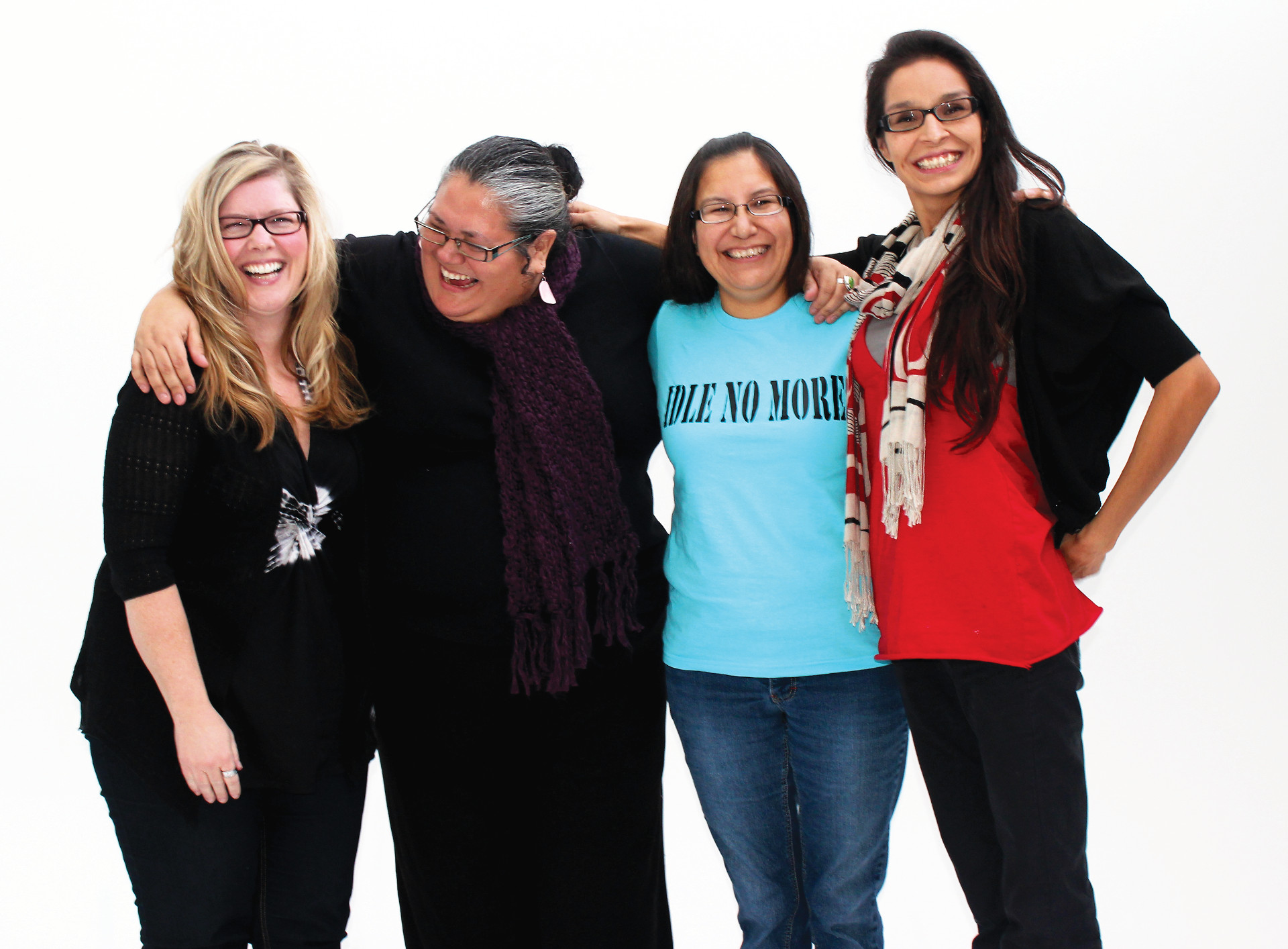 Idle No More co-founders share a laugh. (Left to right): Sheelah McLean, Nina Wilson, Sylvia McAdam Saysewahum and Jessica Gordon. (Photo by m.pet productions.)