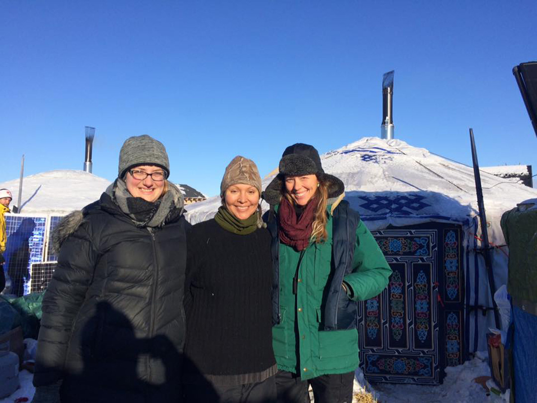Michelle Brass and friends at Standing Rock proptest.