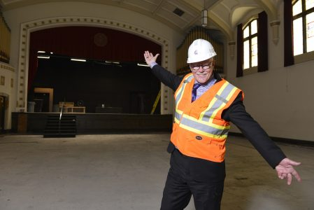 Donald Luxton, the head of Donald Luxton and Associates, Western Canada's foremost cultural and historical management company and the consultant working on the University's College Avenue Campus Renewal Project. Shown here inside Darke Hall. (Photo by Trevor Hopkin)
