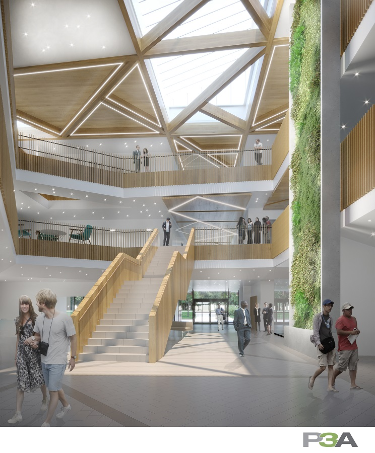 Artist rendering of the Conexus atrium that will solve accessibility issues to a refurbished Darke Hall. (Artist rendering courtesy of P3Architecture Partnership)