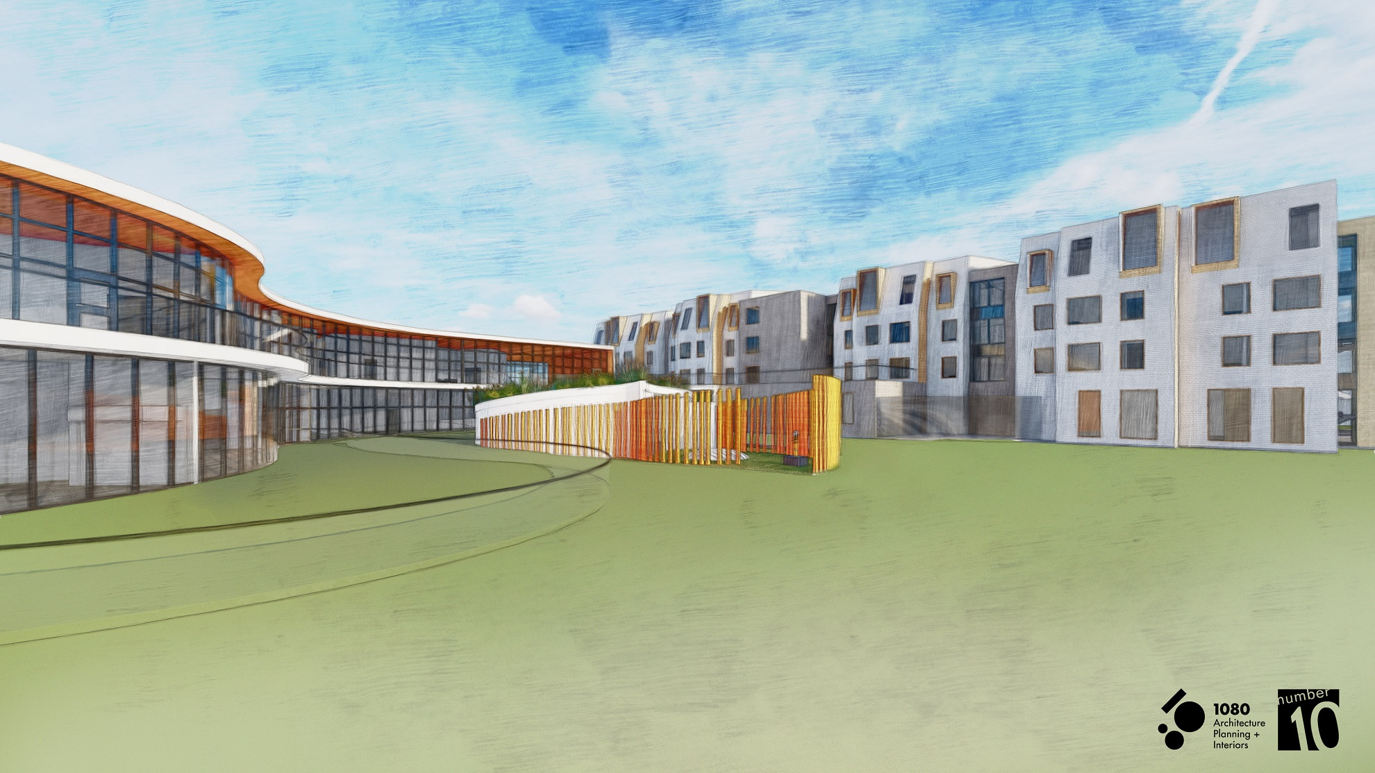 An artist's rendering of the courtyard of the Centre for Women and Families. Courtesy of YWCA Regina