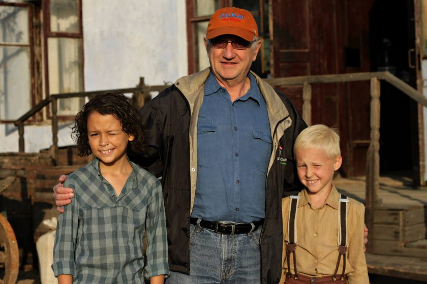 Dale Eisler with the young stars of Anton near Odessa, Ukraine where the film was shot. Mykyta Dziad (left) who plays Jacob and Nikita Shlanchak who plays Anton. Photo  courtesy of Dale Eisler