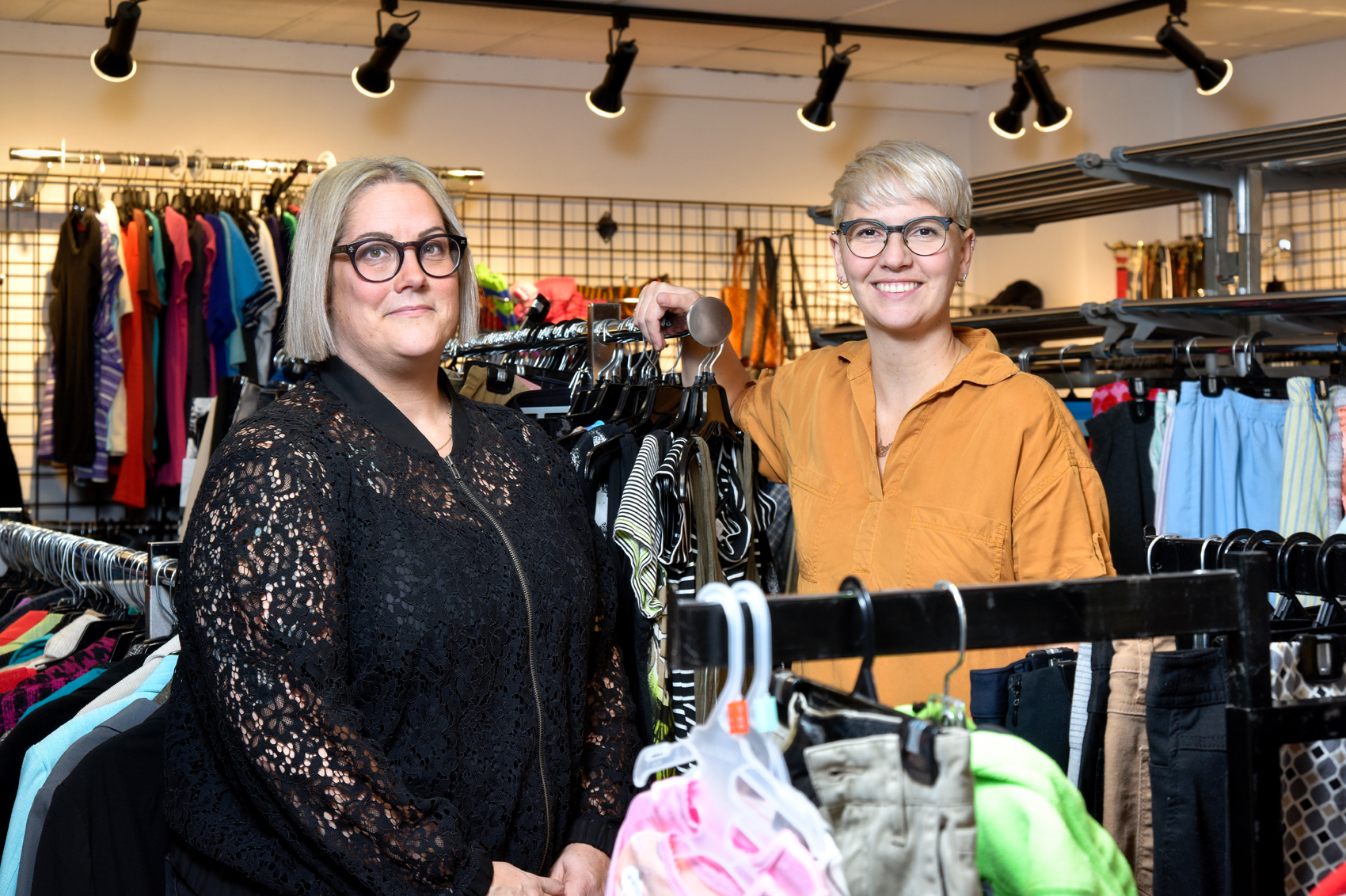 Tara Molson (right) is the senior director of community programs and Alexis Losie is the senior director of operations. They are seen here in YWCA Regina's Encore Market, a second-hand store for low cost toys, clothing, books, and household goods. Photo by Trevor Hopkin