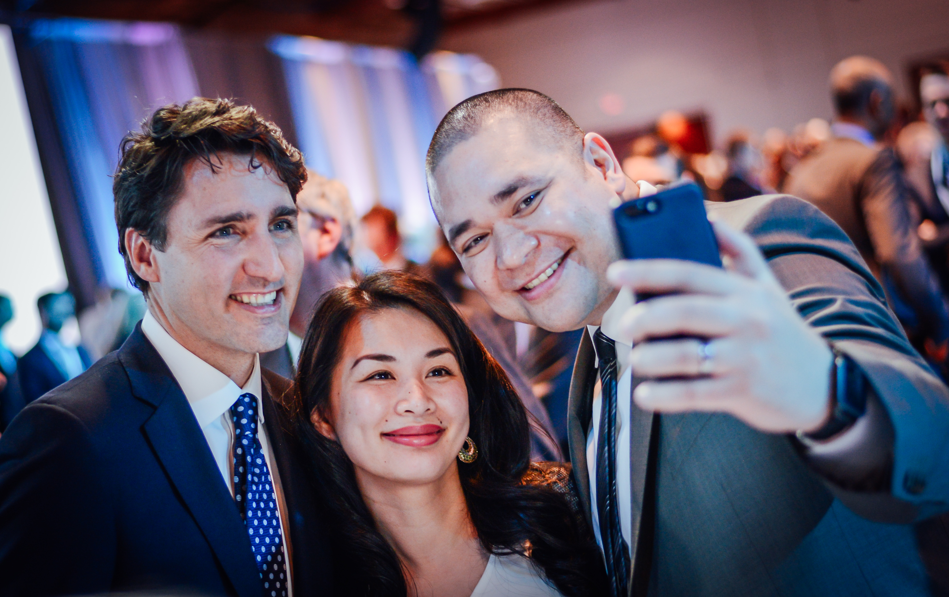 Lafontaine takes a selfie with his wife Thu Uyen and Prime Minister Justin Trudeau at the 2017 Public Policy Forum Testimonial Dinner and Awards. Photo courtesy of the Public Policy Forum
