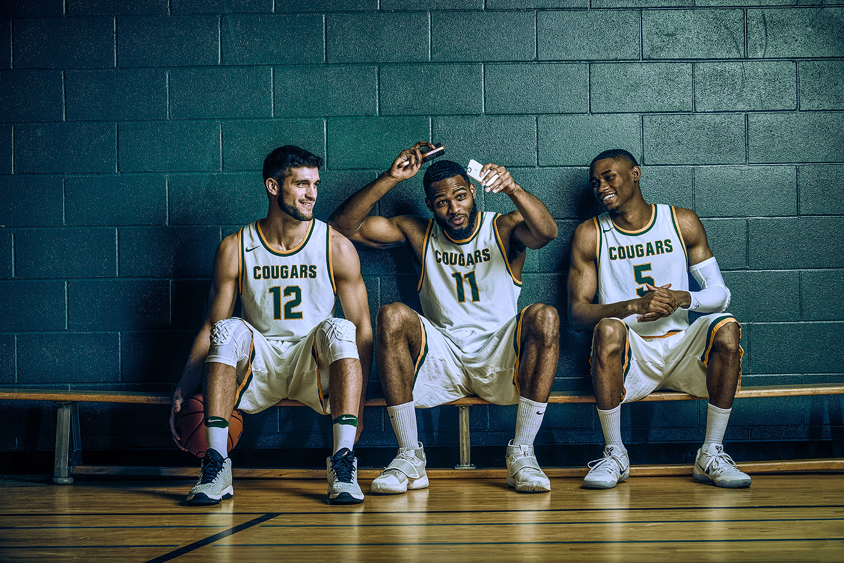 <small>Members of the U of R basketball team in a photo entitled Bench Character.</small>