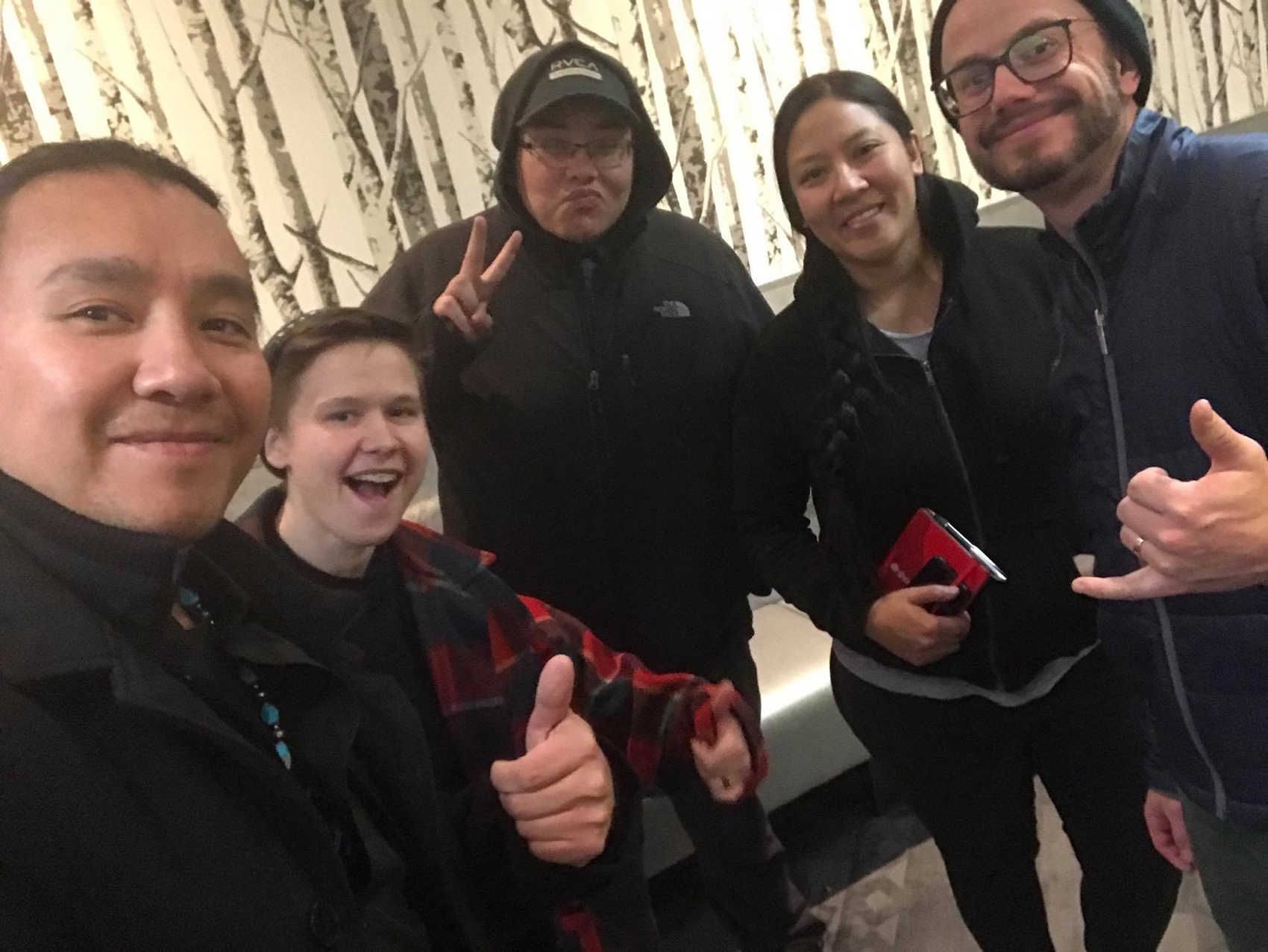 Film graduate Candy Fox and her production crew for her film ahkâmêyimo nitânis (Keep Going, My Daughter). This photo was taken on the first day of production and includes (left to right) producer Chris Tyrone Ross, camera assistant Elian Mikkola, sound recordist Muskwa Lerat, Fox, and director of photography Aaron Bernakevitch. The film was shot in October 2018. (Photo courtesy of Candy Fox)