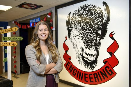 Nicole Rodgers, a fourth-year Environmental Systems Engineering student and president of the Regina Engineering Students' Society.