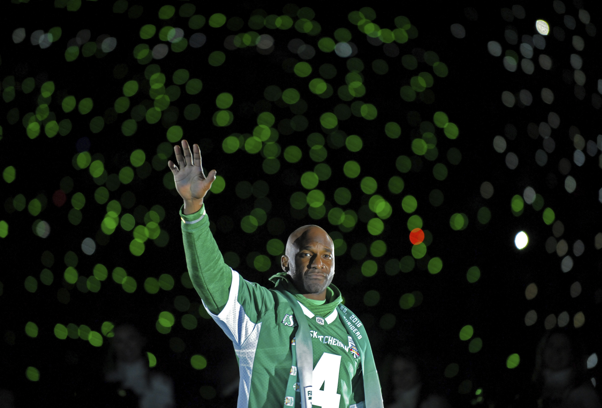 <small>Darian Durant waves to the crowd after the last ever CFL game at Mosaic Stadium (and what turned out to be Durant's 