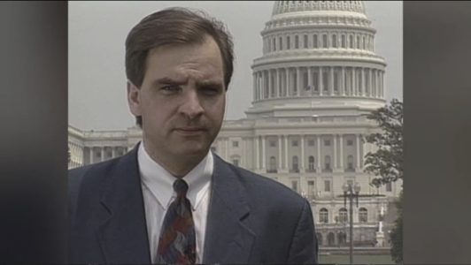 O'Shea reports have been filed from around the world including  Haiti, Beirut, Ghana, and El Salvador to name a few. O'Shea is shown here reporting from Washington D.C. in the early 1990s.