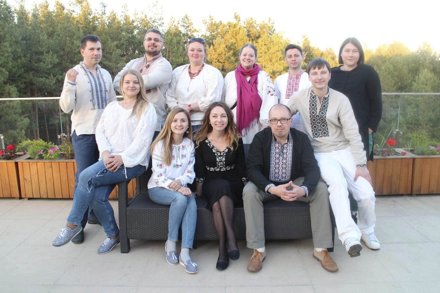 Bezo (back row, third from right) and her CBIE colleagues  from Kyiv, Ukraine during a retreat to build the country's institution of legal aid. The photo was taken on International  Vyshyvanka Day (Ukrainian International Embroidery Day). (Photo courtesy of Larissa Bezo)