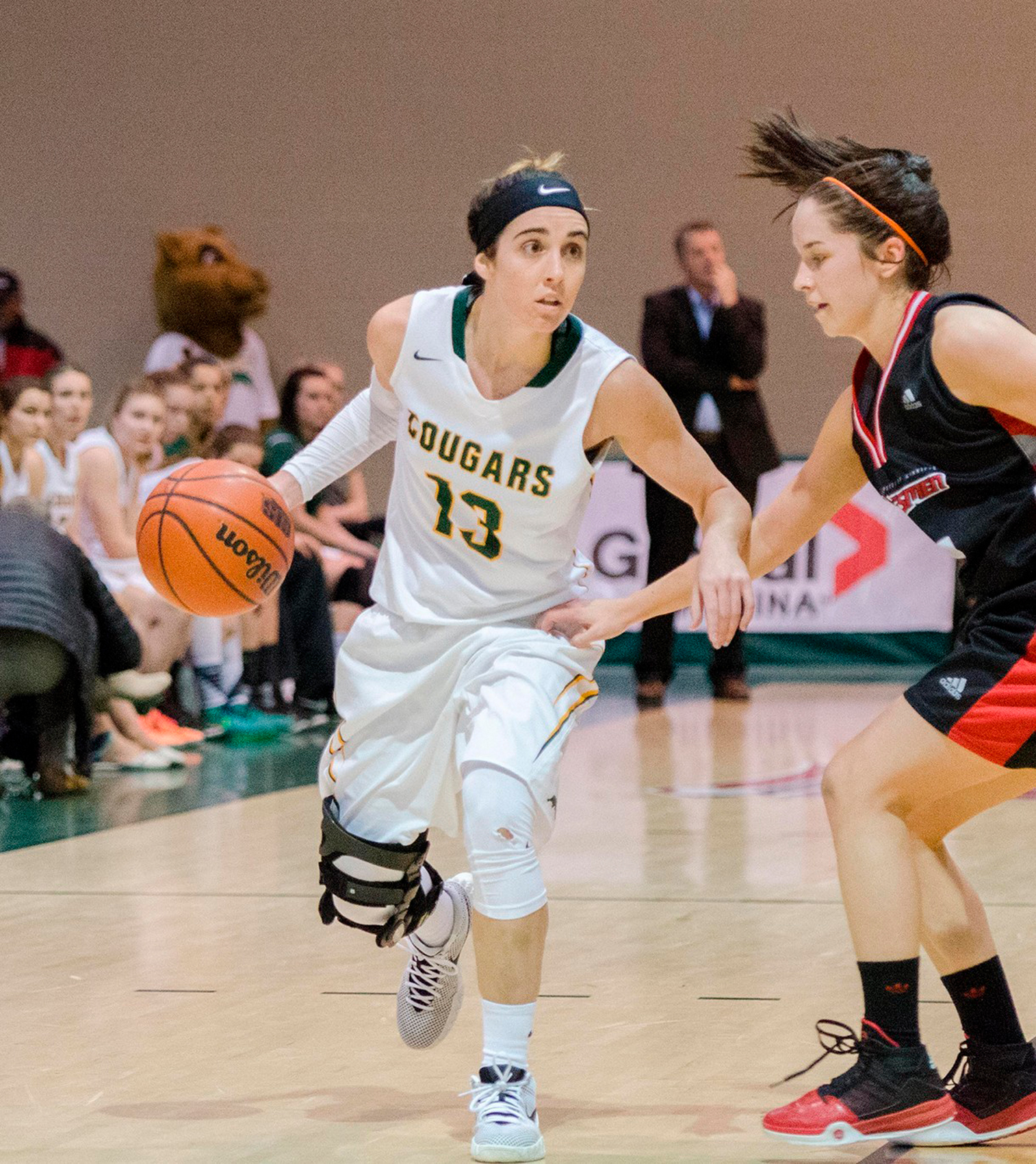 Dobner wore number 13 during her tenure with the Cougars. (Photo courtesy  of U of R Athletics.)