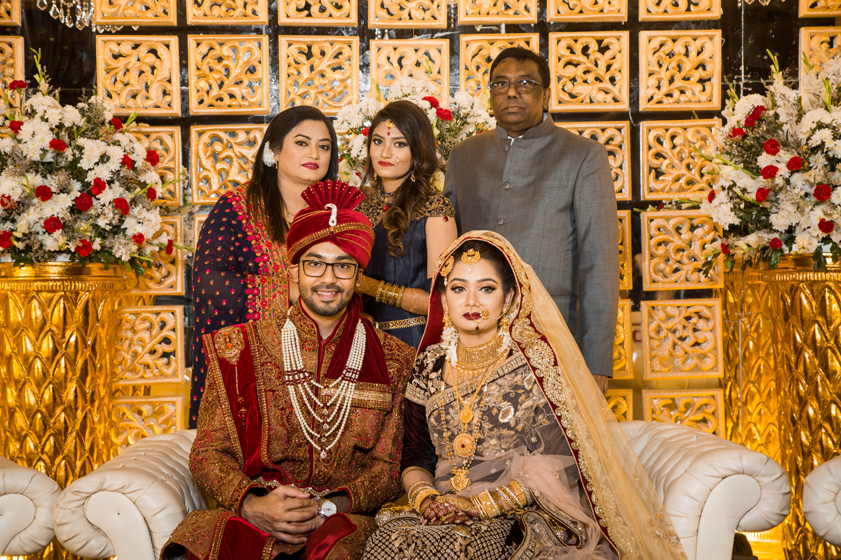Ramiz and his bride Faeqa Farooq pose on their wedding day with members of Ramiz's family. (Back row, left to right) Ramiz's mother Mahbuba Parveen, sister Reyan, and his late father Mohammad Liaquat Hossain. The photo was taken in Dhaka, Bangladesh in December 2016.