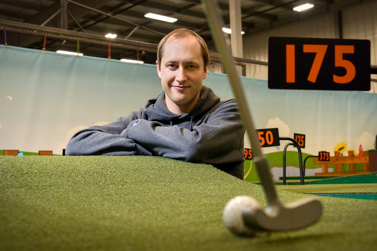 OneShot Golf's chief technical officer Tim Borgares. He says that the U of R is well represented in the company. In addition to the three principals, OneShot Golf employs graduate Denis Leanca BSc'20 and, at the time of writing, had four U of R co-op students and interns working for the firm.